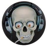 Morella Unisex Glas Click-Button Druckknopf DJ Totenkopf Smoker