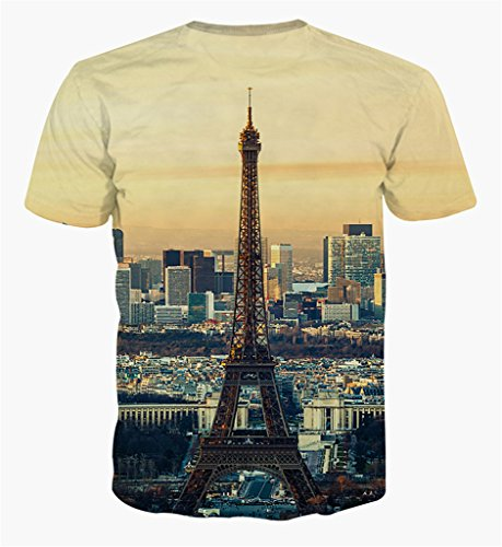 Pizoff Unisex Sommer Leicht Bunt Bequem Cool Digital Print Schmale Passform T Shirts mit Bunt 3D Muster Y1648-8