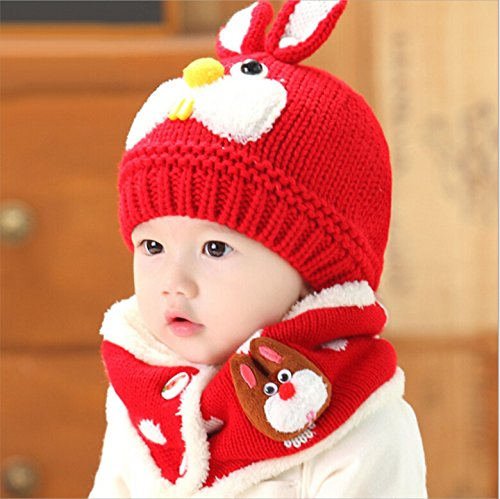 19% OFF on Generic hot pink   blue Baby Winter Hat and Scarf Set Very Warm Infant  Beanie Cap for Children Boys Girls cute rabbit Kids Crochet Knitted Shawl  ... 74de02b153e