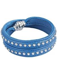 Rafaela Donata Unisex-Armband Edelstahl Leder Zirkonia Rundschliff weiß 60907029