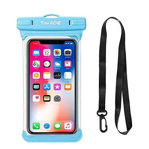 TopACE Wasserdichte Handytasche Handyhülle Beutel Tasche Schützhülle für Huawei Mate 20 Lite/OnePlus 6T/Honor 8X/Galaxy Note 9 usw bis zu 6 Zoll Smartphones (Blau)