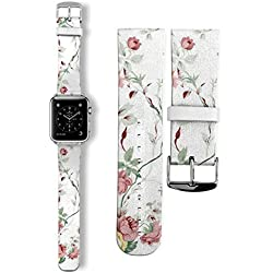 42mm Milanese Stainless Steel Watch band Strap Adapter Lugs For Apple Watch 42MM - White Roses Retro Flower Leaf
