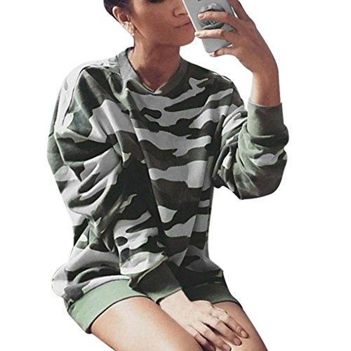 Longra Damen Mode Langarmshirt Rundhals T-Shirt Stretch Tunika Top Frauen Lässig Camouflage Sweatshirt Langarm Pullover Tops Bluse (xl, Camouflage) (Spandex Camouflage Shorts)