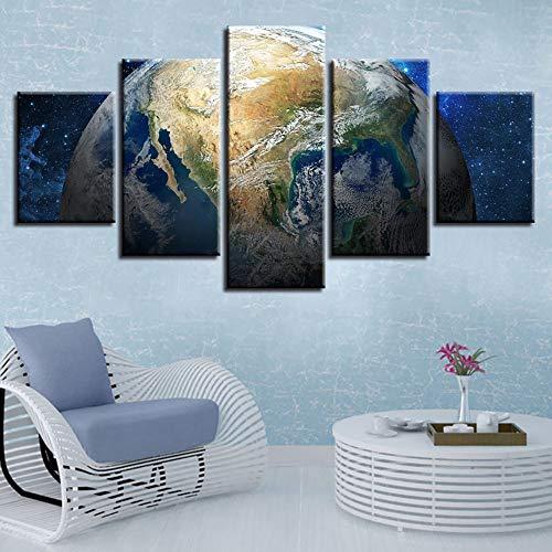 (Rjjdd Hd Gedruckt Wandkunst Bild Dekoration Wohnzimmer 5 Stücke Erde Planeten Abstrakte Leinwand Malerei Modulare Rahmen Poster-30Cmx40,with Frame)