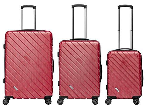 Packenger Premium Koffer, Trolley, Hartschale  3er-Set Vertical in Rot-Metallic, Größe M, L und XL