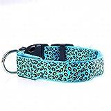 Yajiemei Haustier Hundehalsband USB wiederaufladbarer LED-Leopardenmuster für kleine bis große Hunde (Color : Blue, Size : S)
