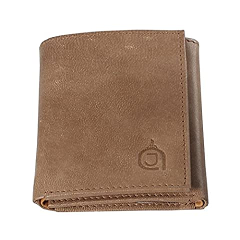 AzraJamil Olive and Tan Bi Colour Premium Finished Tri-Fold Leather Wallet (Ohio Vintage-note)