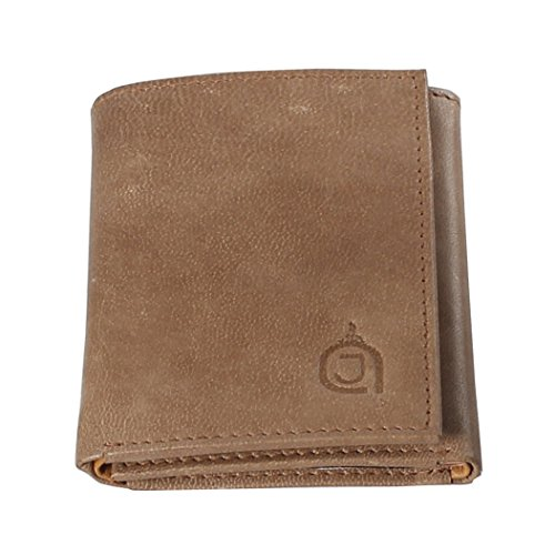 AzraJamil Olive and Tan Bi Colour Premium Finished Tri-Fold Leather Wallet (Wallet Tumi Passport)