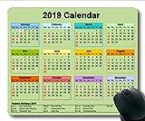 2019 Kalender-Mauspad schwarz, EIN Kalender Gaming-Mauspad, Kalenderplaner 2019 mit Feiertagsdetails