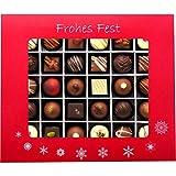 Hallingers 30er Pralinen-Mix handgemacht, mit/ohne Alkohol (360g) - Frohes Fest Rot (Pralinenbox) - zu Weihnachten
