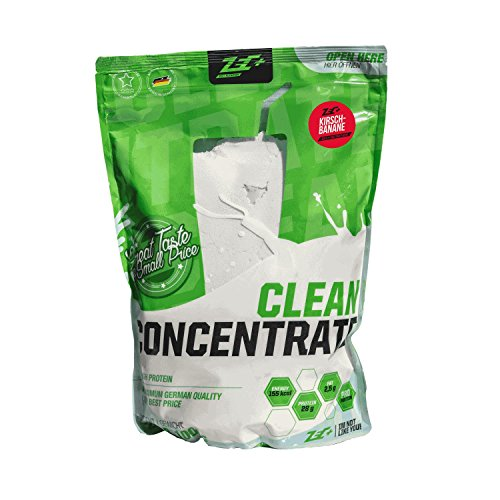 ZEC+ Clean Concentrate Protein-Pulver mit Molkenprotein, kalorienarmes Whey Protein Eiweißpulver für Muskelaufbau & Muskelerhalt, Low Carb Protein Shake mit Geschmack Kirsch Banane 1000 g -
