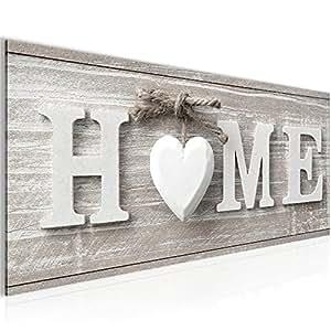 bilder home herz wandbild 100 x 40 cm vlies leinwand bild xxl format wandbilder wohnzimmer. Black Bedroom Furniture Sets. Home Design Ideas