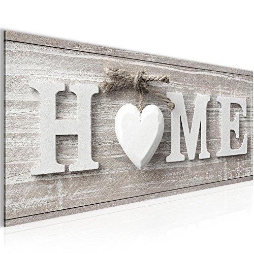 Bilder Home Herz Wandbild 100 x 40 cm Vlies - Leinwand Bild XXL Format Wandbilder Wohnzimmer Wohnung Deko Kunstdrucke Braun 1 Teilig -100% MADE IN GERMANY - Fertig zum Aufhängen 504412a