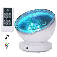 [Upgraded]Ocean Projector Lamp Night Light+Remote Control+Timer, Bedside Child Lights Baby Gifts with 8 Color Modes+6 Music Sounds+Angle Adjustment for Party Decoration