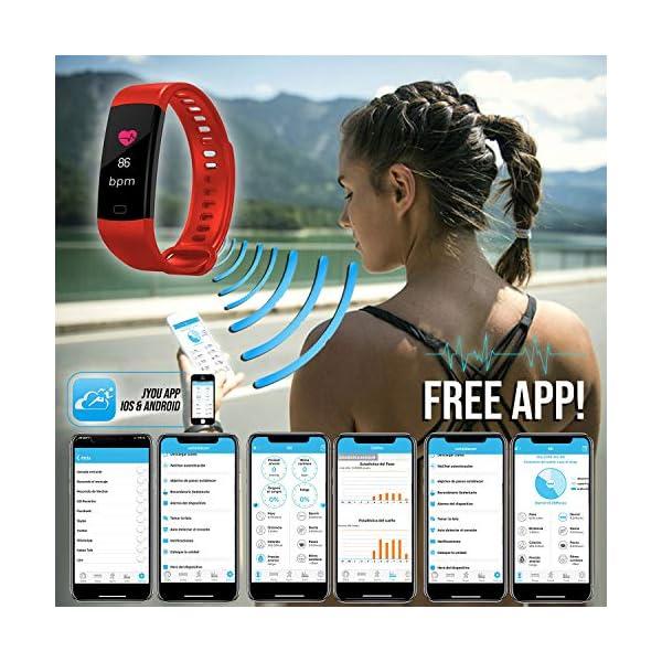 Pulsera de Actividad Inteligente FitBand cRadia con pantalla táctil, pulsómetro láser, monitor de Frecuencia Cardíaca HR, Podómetro, resistente al agua con protección IP67, contador de pasos y monitor de Sueño para Android y iPhone 3
