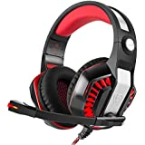 STOGA Auriculares para Juegos, Beexcellent PS4 Auriculares Gaming GM-2 para Colocar Sobre la Oreja Aislamiento de Ruido, respiración de luz LED con micrófono para PC Gamers (Negro y Rojo)