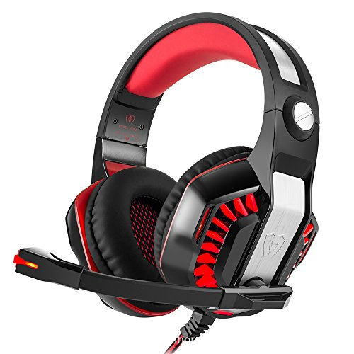 STOGA GM-2 Gaming Kopfhörer, 3,5 mm PS4 Gaming Headset Over-the-Ear Geräuschisolierung, Atmung LED-Licht mit Mikrofon für PC Gamer (Black & Red)