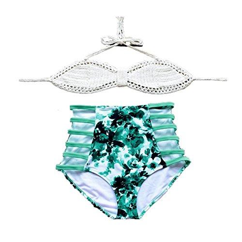 AMYMGLL Women 's Bikini Hand - Umwelt schnell gestrickt - Trocknen hoch - Taille Europa und den Vereinigten Staaten aufgeteilter Badeanzug white with green flowers