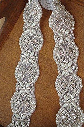 TRLYC Elfenbeinfarbene Strass-Applikation als Schärpe für Hochzeitskleider
