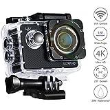 Cámara Deportiva VEAMA 4K Ultra HD Gran Capacidad 1080p 60fps y 170° Ángulo lente Sumergible Hasta 30m WIFI 2 Pulgadas Pantalla LCD Accesorios Múltiples