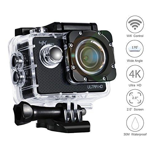 Action Kamera 4K VEAMA WIFI Wasserdicht Ultra HD 24fps Optional Bildauflösung Sport Cam mit 2 Li-ion Batterien und Zubehör Kits