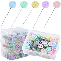 400 Alfileres Cabeza Plana forma Botón Agujas Colores Costura Tejer Coser para Acolchado (4 Cajas*100pcs)