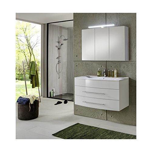 #SAM® Design Badmöbel-Set Basel 2 teilig, hochglanz weiß, 100 cm, Mineralgussbecken in weiß, Badezimmer mit Softclose-Funktion, bestehend aus 1 x Spiegelschrank, 1 x Waschplatz#