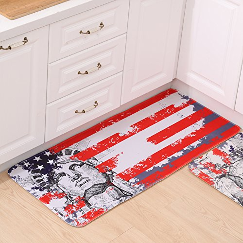 heraussteigen Pad Matte Tür Badezimmer saugstark, Bodenmatten Küche Badezimmer WC-Wohnzimmer Fußmatte Pad, Abstract statue of liberty, 50×120cm