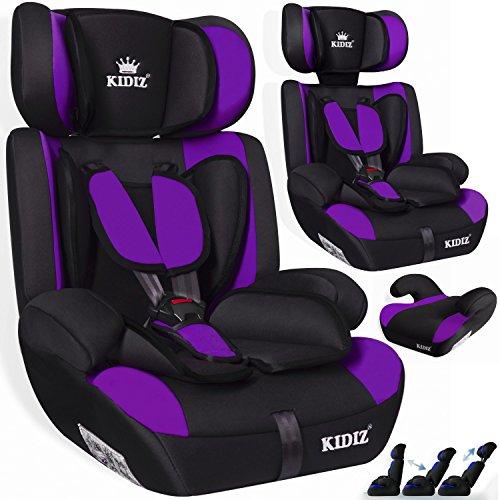 Kidiz Autokindersitz Kinderautositz Sportsline ? Gruppe 1+2+3 ? 9-36 kg ? Autositz ? Kindersitz | Stabil und Sicher | verschiedene Farben, Farbe:Lila