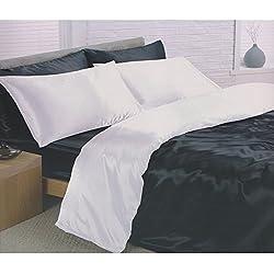 Para cama de matrimonio reversible satén liso juego completo de blanco y negro 6 piezas Juego de cama de funda de edredón para cama de matrimonio/de funda de edredón sábana bajera y 4 fundas de almohada