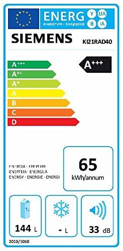 Siemens KI21RAD40 iQ500 Einbau-Kühlschrank / A+++ / 87.4 cm Höhe / 65 kWh/Jahr / 144 Liter Kühlteil / safetyGlass / Flachschanier -