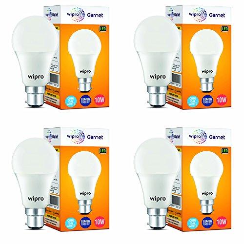 Wipro Garnet Base B22 10-Watt LED Bulb (Pack of 4, Cool Day...