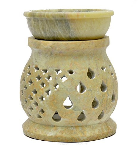 LAMPADA in pietra ollare - portacandela e diffusore di olio essenziale - design artistico gocce Artigianato indiano Arredamento casa Profumazione ambienti