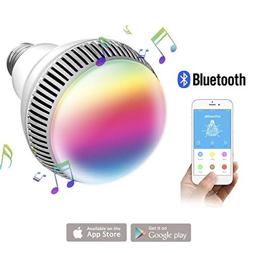 morpilot Bombilla Inteligente de Luz Multicolor, Bombilla LED Inalámbrica con Bluetooth 4.0 Altavoz, Playbulb Musical LED E27, Luz RGB Regulable para Decoración/Lluminación/iOS/Android Smartphone