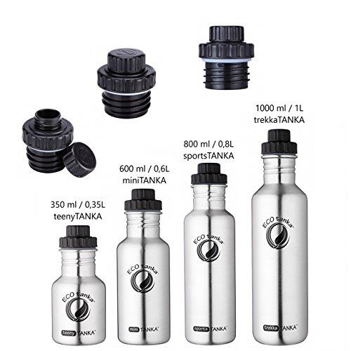 ECOtanka - 350ml/600ml/800ml/1000 ml - Reduzier-Verschluss, Edelstahl-Trinkflasche, ökologisch & nachhaltig