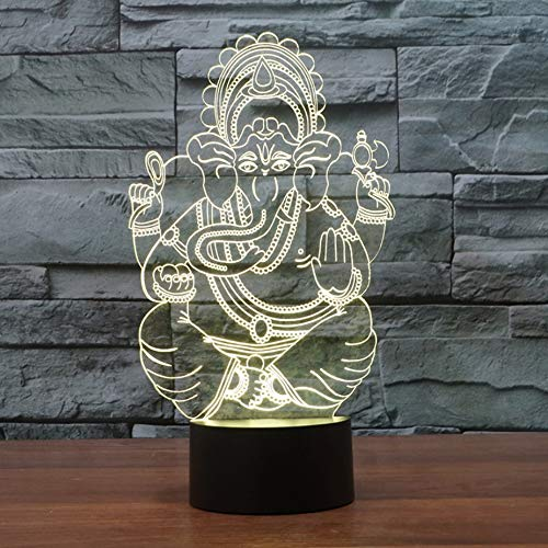 3D LED Indien Lord Elephant Night Light Visual 7 Farben Ganesha Tisch Schreibtisch LampXmas Kinder Schlaf Beleuchtung Geschenke