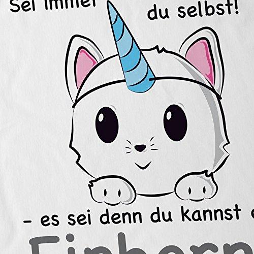 style3 Sei immer du selbst! Einhorn Herren T-Shirt Unicorn Weiß