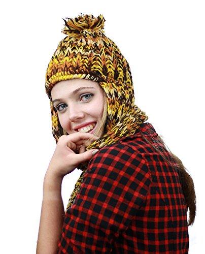 Bonnet foulard népalais en laine molletonné tricoté à la main. Produit offert par NYFASHION101. Jaune