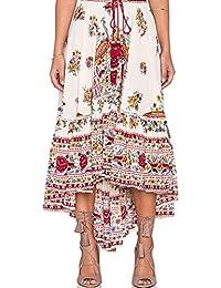OHQ Lady Flower Imprimer IrréGulièRe Jupe Rouge Bleu Femmes Dames Boho  Tribal Floral Maxi Summer Beach Longue Occasionnelle Dress… ed17ed9729c2