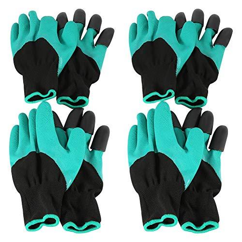4 Paar Handschuhe Arbeitshandschuhe Gartenhandschuhe Schutzhandschuhe mit 4 Krallen, für Graben, Harken und Einpflanzen (Handschuh Mit Krallen)