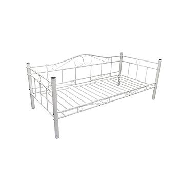 Bett metall weiß 90x200  vidaXL Tagesbett Einzelbett 90x200 Metallbett Metall Bett ...