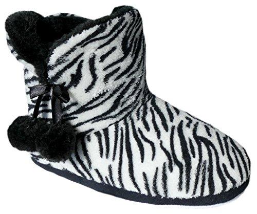 gibra, Pantofole donna Schwarz/Weiß