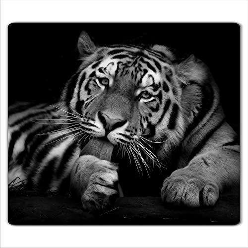 Gsmarkt | Herdabdeckplatte Schneidebrett Spritzschutz 60x52 | Bild auf Glas | Sicherheitsglas Gehärtetes Glas Bild | Motiv Tiger