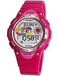 PASNEW 2001D Montre de Sport Montre Numérique Enfant Enfant Garçon Fille Multi-fonction Bracelet Electronique (Etanche 10 ATM) Sport Plein Air Alarme Digitale - Rose