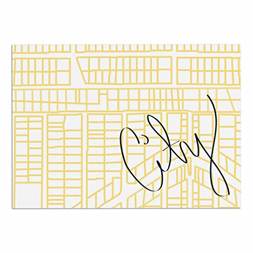 Kess InHouse Kess eigene bb2021adm02Love Midge City Streets Karten und Gelb Reise Hund Tischset, 61x 38,1cm