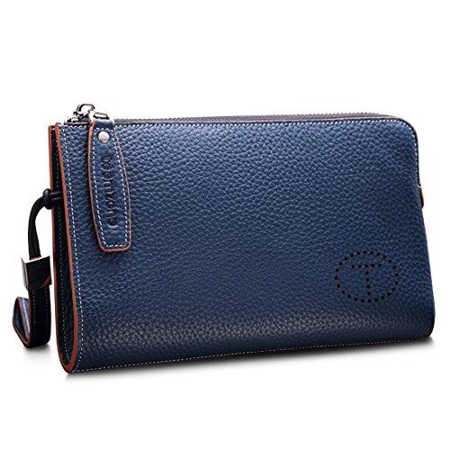 Teemzone Multi-Tasche Handgelenktasche Herren Clutch Rindleder mit Trageschlaufe Portemonnaie Damen Groß(Schwarz Klein) Blau Klein