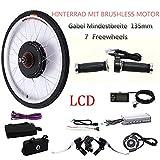 "OUKANING 26"" 48V 1000W Hinterrad Elektro-Fahrrad Kit E-Bike Umbausatz mit LCD Display"