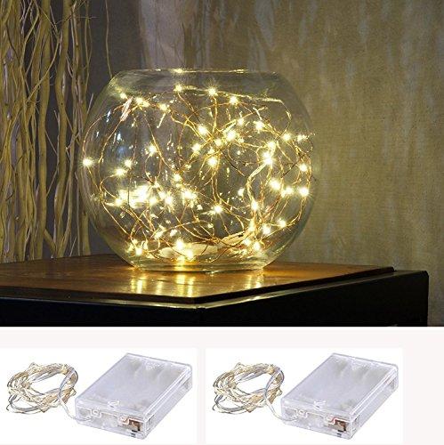 2 x Lichterkette 50er LED Draht Micro Lichterkette Batteriebetrieb und 2 Programm für Party, Garten, Weihnachten, Halloween, Hochzeit, Beleuchtung Deko XINBAN (Warmweiß)
