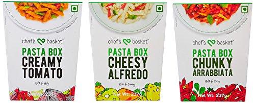 Chef's Basket Pasta Box Chunky Arrabbiata Pasta + Creamy Tomato Pasta + Cheesy Alfredo Pasta (Combo), 237g each