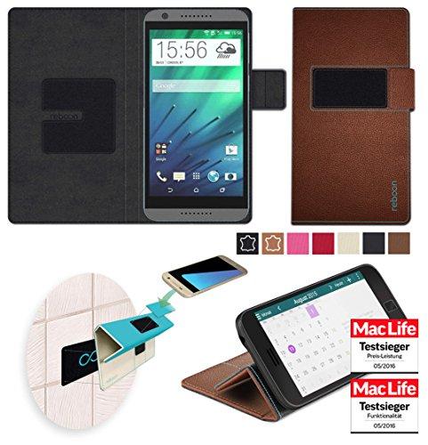 reboon Hülle für HTC Desire 820G Plus Tasche Cover Case Bumper   Braun Leder   Testsieger (Htc 820)